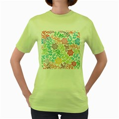 Texture Flowers Floral Seamless Women s Green T Shirt by Jojostore