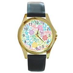 Texture Flowers Floral Seamless Round Gold Metal Watch by Jojostore
