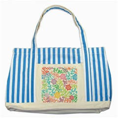 Texture Flowers Floral Seamless Striped Blue Tote Bag by Jojostore