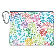 Texture Flowers Floral Seamless Canvas Cosmetic Bag (xxl) by Jojostore