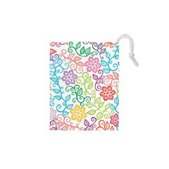 Texture Flowers Floral Seamless Drawstring Pouches (xs)  by Jojostore