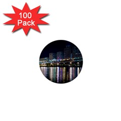 Cleveland Building City By Night 1  Mini Buttons (100 Pack)