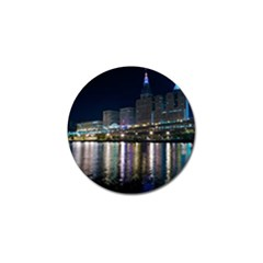 Cleveland Building City By Night Golf Ball Marker (4 pack) by Amaryn4rt