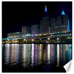 Cleveland Building City By Night Canvas 16  X 16   by Amaryn4rt