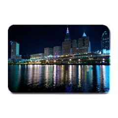 Cleveland Building City By Night Plate Mats by Amaryn4rt
