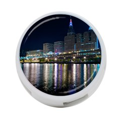 Cleveland Building City By Night 4 Port Usb Hub (one Side) by Amaryn4rt