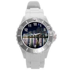 Cleveland Building City By Night Round Plastic Sport Watch (l) by Amaryn4rt