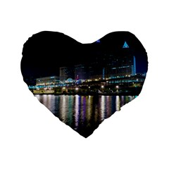 Cleveland Building City By Night Standard 16  Premium Heart Shape Cushions