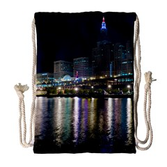 Cleveland Building City By Night Drawstring Bag (large) by Amaryn4rt