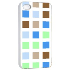 Colorful Green Background Tile Pattern Apple Iphone 4/4s Seamless Case (white) by Amaryn4rt