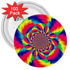 Colorful Psychedelic Art Background 3  Buttons (100 Pack)  by Amaryn4rt