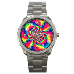 Colorful Psychedelic Art Background Sport Metal Watch by Amaryn4rt