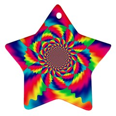 Colorful Psychedelic Art Background Star Ornament (two Sides)