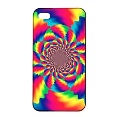 Colorful Psychedelic Art Background Apple Iphone 4/4s Seamless Case (black) by Amaryn4rt
