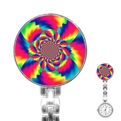 Colorful Psychedelic Art Background Stainless Steel Nurses Watch by Amaryn4rt