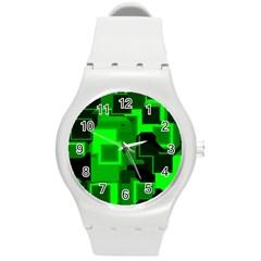 Cyber Glow Round Plastic Sport Watch (m) by Amaryn4rt