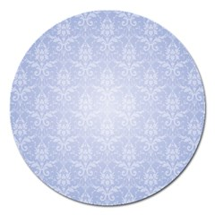 Damask Pattern Wallpaper Blue Magnet 5  (round) by Amaryn4rt