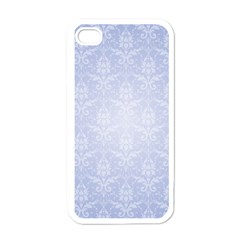 Damask Pattern Wallpaper Blue Apple Iphone 4 Case (white)
