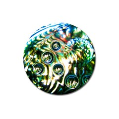 Dark Abstract Bubbles Magnet 3  (round) by Amaryn4rt