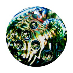 Dark Abstract Bubbles Round Ornament (two Sides) by Amaryn4rt