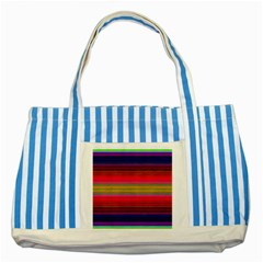 Fiesta Stripe Colorful Neon Background Striped Blue Tote Bag by Amaryn4rt