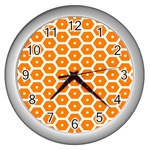 Golden Be Hive Pattern Wall Clocks (Silver)  Front
