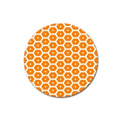 Golden Be Hive Pattern Magnet 3  (round) by Amaryn4rt