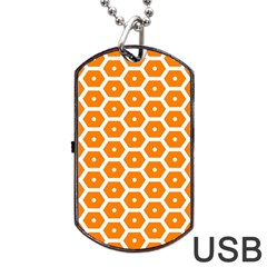 Golden Be Hive Pattern Dog Tag Usb Flash (two Sides) by Amaryn4rt