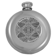 Gray Psychedelic Background Round Hip Flask (5 Oz) by Amaryn4rt