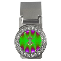 Green And Purple Fractal Money Clips (cz)  by Amaryn4rt