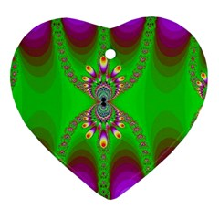 Green And Purple Fractal Heart Ornament (two Sides) by Amaryn4rt