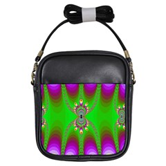 Green And Purple Fractal Girls Sling Bags by Amaryn4rt