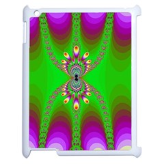 Green And Purple Fractal Apple Ipad 2 Case (white) by Amaryn4rt