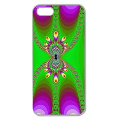 Green And Purple Fractal Apple Seamless Iphone 5 Case (clear) by Amaryn4rt
