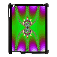Green And Purple Fractal Apple Ipad 3/4 Case (black) by Amaryn4rt