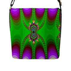 Green And Purple Fractal Flap Messenger Bag (l)  by Amaryn4rt