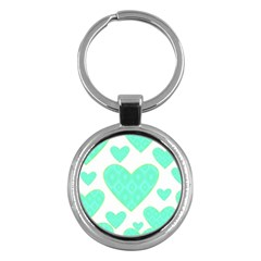 Green Heart Pattern Key Chains (round)  by Amaryn4rt
