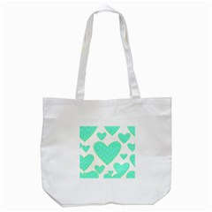 Green Heart Pattern Tote Bag (white) by Amaryn4rt
