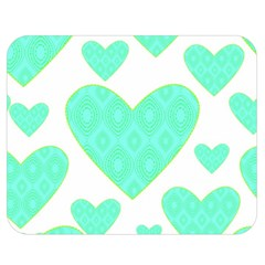Green Heart Pattern Double Sided Flano Blanket (Medium)  by Amaryn4rt