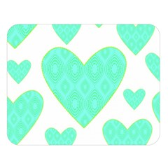Green Heart Pattern Double Sided Flano Blanket (large)  by Amaryn4rt