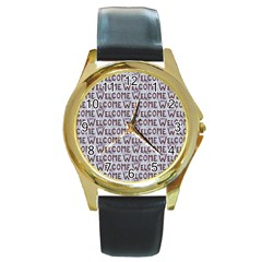 Welcome Letters Pattern Round Gold Metal Watch by dflcprints