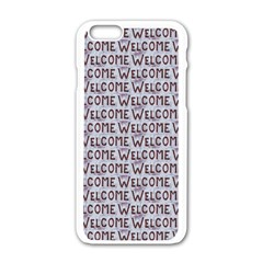 Welcome Letters Pattern Apple Iphone 6/6s White Enamel Case by dflcprints