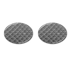 Grid Wire Mesh Stainless Rods Rods Raster Cufflinks (oval) by Amaryn4rt