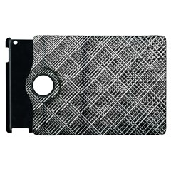 Grid Wire Mesh Stainless Rods Rods Raster Apple Ipad 3/4 Flip 360 Case by Amaryn4rt