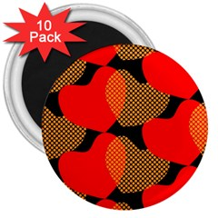 Heart Pattern 3  Magnets (10 Pack)