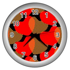 Heart Pattern Wall Clocks (silver)  by Amaryn4rt