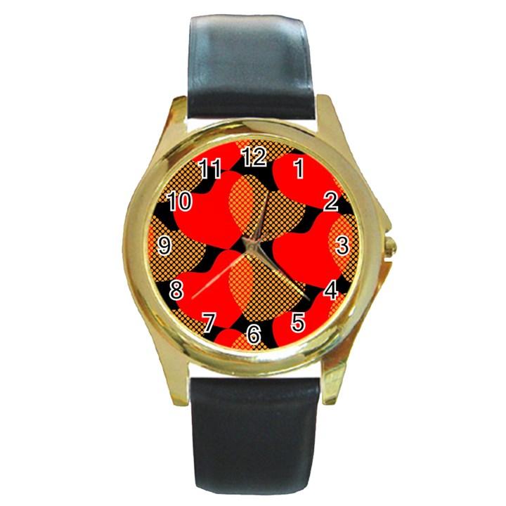Heart Pattern Round Gold Metal Watch