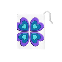 Light Blue Heart Images Drawstring Pouches (small)  by Amaryn4rt