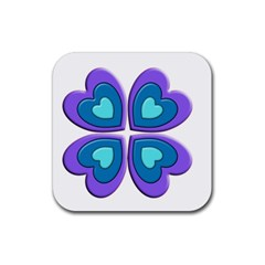 Light Blue Heart Images Rubber Square Coaster (4 Pack)  by Amaryn4rt