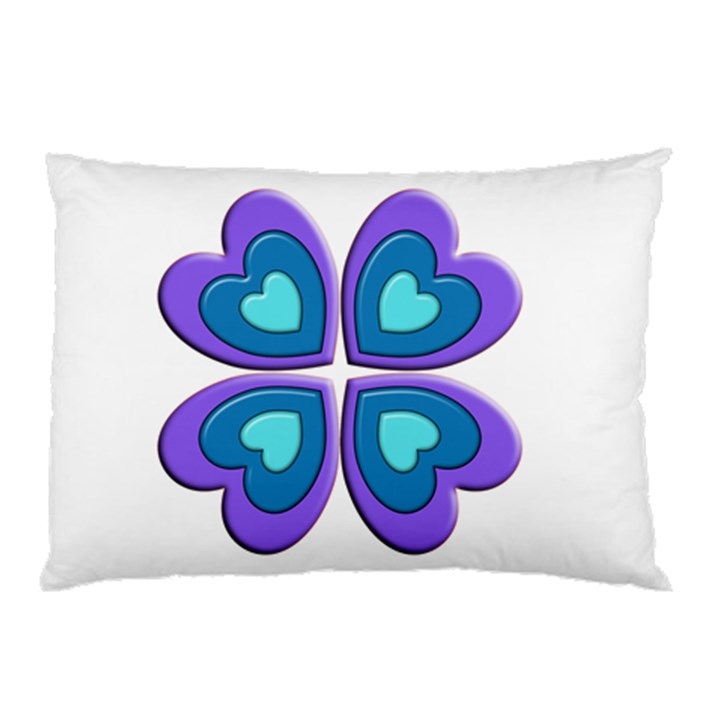 Light Blue Heart Images Pillow Case